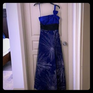 One Strapped Blue Ball Gown with Sparkles